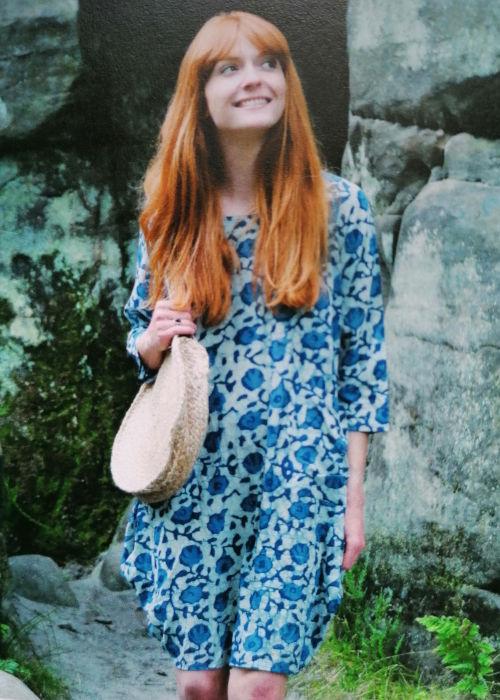 Nila Rubia Designer Roshan Brushed Cotton Tunic Dress Green Hand Block Printed